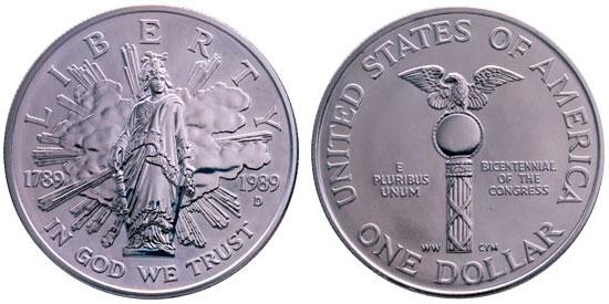 1989 Congress Bicentennial Silver Dollar
