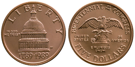 1989 Congress Bicentennial $5 Gold