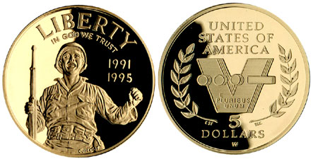 1991-1995 World War II $5 Gold Coin