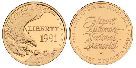1991 Mount Rushmore $5 Gold