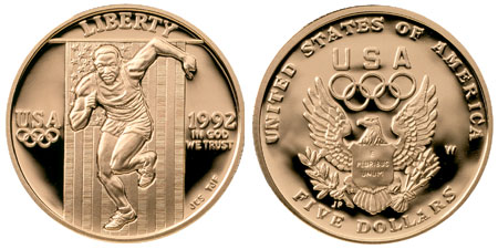 1992 Olympic $5 Gold