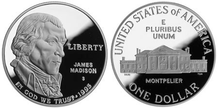 1993 Bill of Rights Silver Dollar