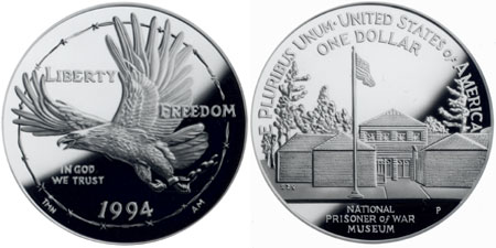 1994 U.S. Prisoner of War Memorial Silver Dollar