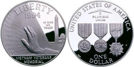 1994 Vietnam Veterans Memorial Silver Dollar