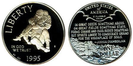 1995 Civil War Silver Dollar