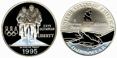 1995 Olympic Cycling Silver Dollar