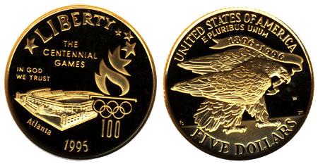 1995 Stadium $5 Gold Coin