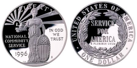 1996 Community Service Silver Dollar