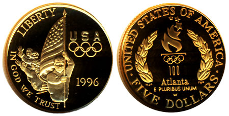 1996 Flag Bearer $5 Gold Coin