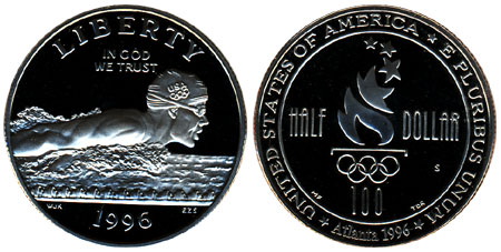 1996 Olympic Swimming Half Dollar