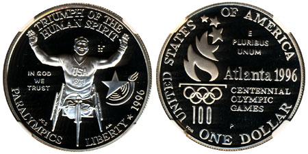 1996 Paralympics Silver Dollar
