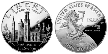 1996 Smithsonian 150th Anniversary Silver Dollar