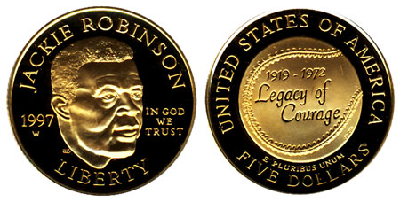 1997 Jackie Robinson $5 Gold Coin