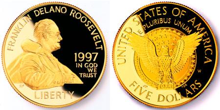 1997 Franklin D. Roosevelt $5 Gold Coin
