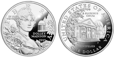 1999 Dolley Madison Silver Dollar