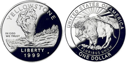 1999 Yellowstone National Park Silver Dollar
