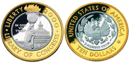 2000 Library of Congress $10 Bimetallic Gold and Platinum