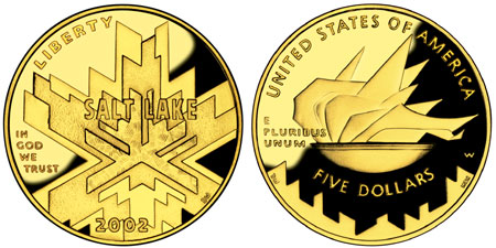 2002 Olympic Salt Lake City $5 Gold Coin