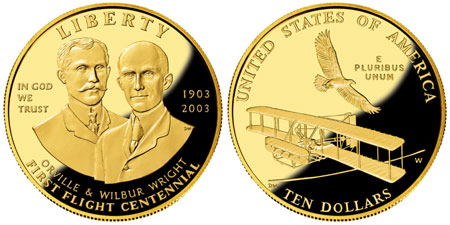 2003 First Flight $10 Gold Coin