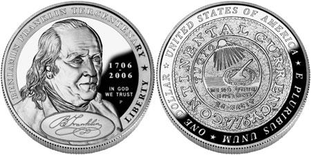 2006 Benjamin Franklin Silver Dollar, Founding Father
