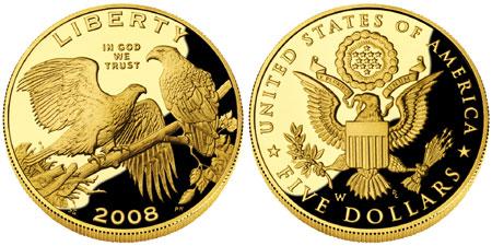 2008 Bald Eagle $5 Gold Coin