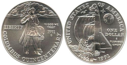 1992 Columbus Silver Dollar