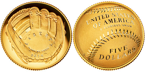 2014 National Baseball Hall of Fame $5 Gold Coin