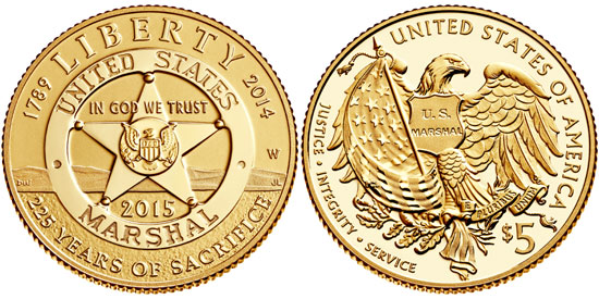 2015 US Marshals $5 Gold Coin