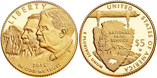 2016 National Park Service $5 Gold Coin