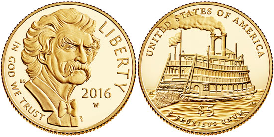 2016 Mark Twain $5 Gold Coin