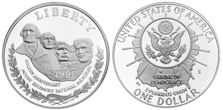 1991 Mount Rushmore Silver Dollar