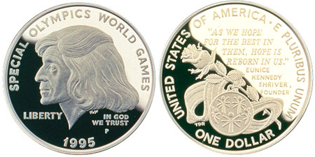 1995-P US Special Olympics Commemorative Proof Silver Dollar PCGS PR69 DCAM