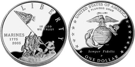 2005 P Marine Corps Proof Silver Dollar Marines 230th Anniversary Coin Box COA