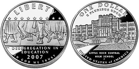 2007-P Little Rock High School Desegregation Commemorative Silver Dollar Mint St
